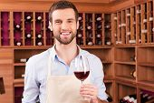 picture of apron  - Confident young man in apron holding glass with red wine while standing in wine cellar - JPG