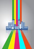 stock photo of suburban city  - illustration of urban city skyline with colorful lines - JPG