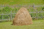 stock photo of haystack  - haystack and fence in Sinjajevina mountain - JPG