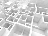 stock photo of cell block  - Abstract empty 3d interior fragment with white chaotic square cells structure - JPG
