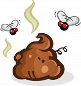 foto of dog poop  - A cute little pile of poop with smelly fumes wafting around buzzing flies - JPG