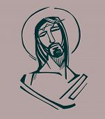 picture of passion christ  - Hand drawn vector illustration or drawing of Jesus Christ at the Passion - JPG