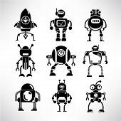 picture of robotics  - set of 9 comic robot icons in white background - JPG