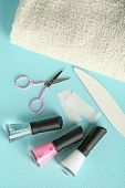 stock photo of french manicure  - French manicure set with white tip polish - JPG