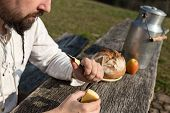 pic of hermit  - bearded hermit eating cheese and bread on a wooden table - JPG