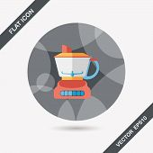 foto of juicer  - Kitchenware Electric Juicer Flat Icon With Long Shadow - JPG