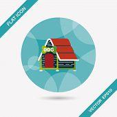 image of dog-house  - Pet Dog House Flat Icon With Long Shadow - JPG
