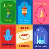 picture of hookah  - Six Arabic culture mini poster set with hookah - JPG