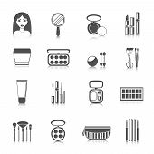 pic of face-powder  - Makeup icons black set with woman face mirror powder mascara isolated vector illustration - JPG