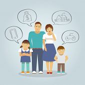 picture of girl toy  - Family with parents and girl and boy children dreaming of money house and toys flat vector illustration - JPG