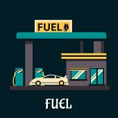 image of fuel pump  - Fuel poster in flat style depicting white car at gas station with gray facade - JPG