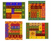 picture of primitive  - Ethnic african pattern with colorful primitive geometric plant and animal ornament suitable for fabric print or tapestry design - JPG