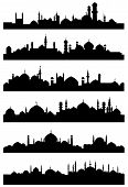 Постер, плакат: Islamic or arabic cityscape black silhouettes