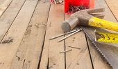 stock photo of carpentry  - Group of carpentry tools  - JPG