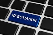 image of negotiating  - negotiation blue button on keyboard business concept - JPG