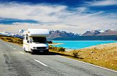 image of campervan  - Traveling by motorhome Mount Cook New Zealand - JPG