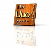 Ununoctium From Periodic Table Of Elements - Wood Board poster