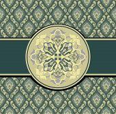 picture of damask  - Green Vintage background  vector illustration - JPG