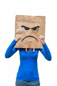 picture of incognito  - Angry woman in blue shirt showing fists isolated on white background - JPG