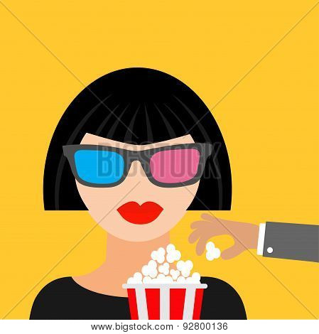 Brunet Girl At The Cinema Theatre In 3D Glasses Hand Steal Popcorn.  Black Dress Flat Dsign Style Ic