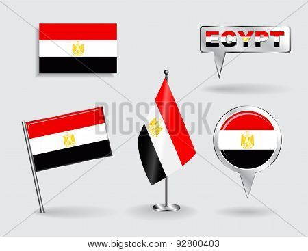 Set of Egyptian pin, icon and map pointer flags. Vector
