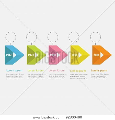 Infographic Timeline Five Step Ribbon Empty Arrow Dashed Circle And Text. Flat Design.