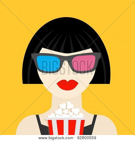 3D Glasses And Big Popcorn. Brunet Girl At The Cinema Theatre Black Dress Flat Dsign Style Icon.
