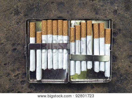 Open Metal Cigarette Case