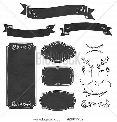 Set of decorative elements in the style of chalk board. Frame, invitations, ribbons, decorations and