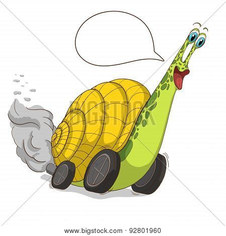 Cartoon Snail with a wheel. Isolated. Vector.