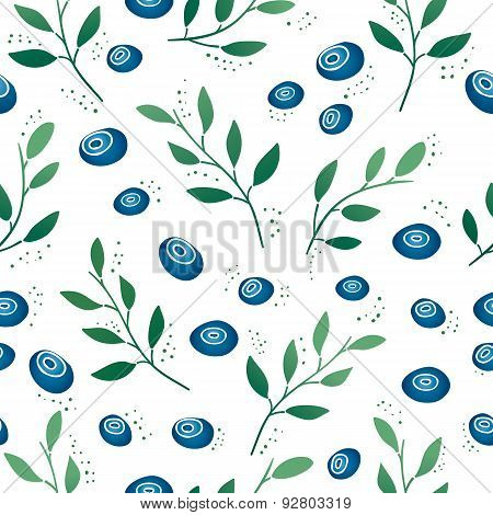 Seamless pattern with blueberries and leaves. Gradient color. Vector.