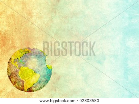 Grunge background with abstract world map printed on paper texture