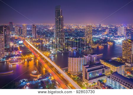 Landscape of Bangkok city in night time with bird view