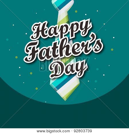 Happy Father's Day celebration greeting card design decorated with stylish necktie on green background.