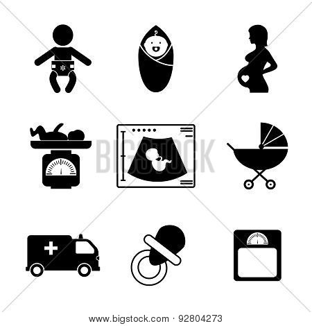 Pregnancy and birth icons