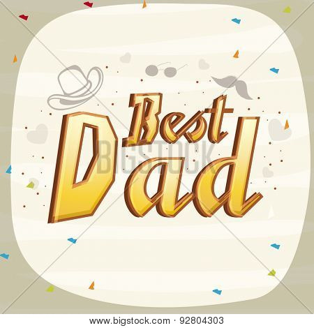 Best Dad greeting or invitation card design on stylish background for Happy Father's Day celebration.