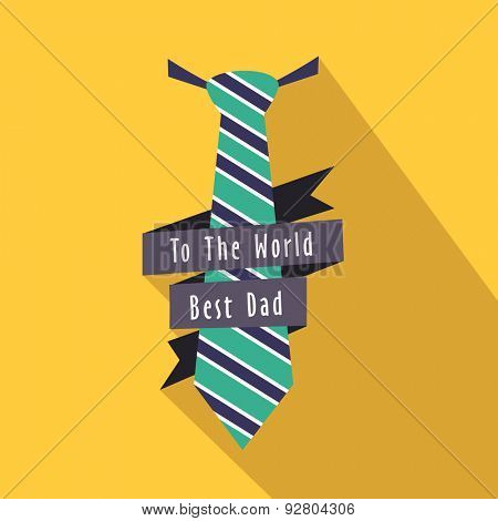 Stylish necktie for Best Dad on yellow background, Elegant greeting card design for Happy Father's Day celebration.