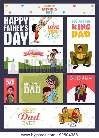 Social media ads, header or banner set with various elements for Happy Father's Day celebration.