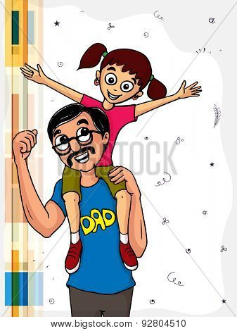Happy cute little girl sat on her father shoulder, beautiful greeting card design for Happy Father's Day celebrations.