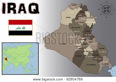 Map, Flag and Location of Iraq
