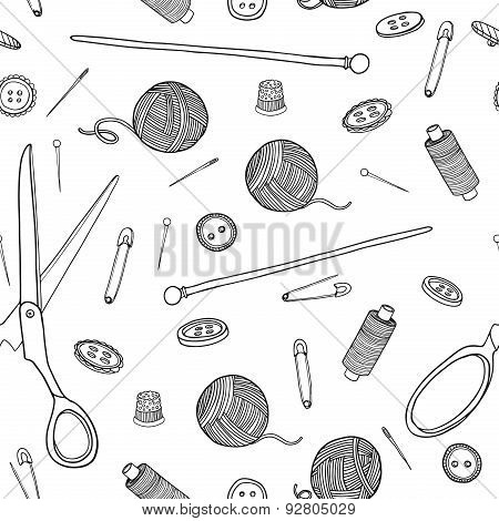 Seamless pattern with sewing elements. Monochrome color. Vector.
