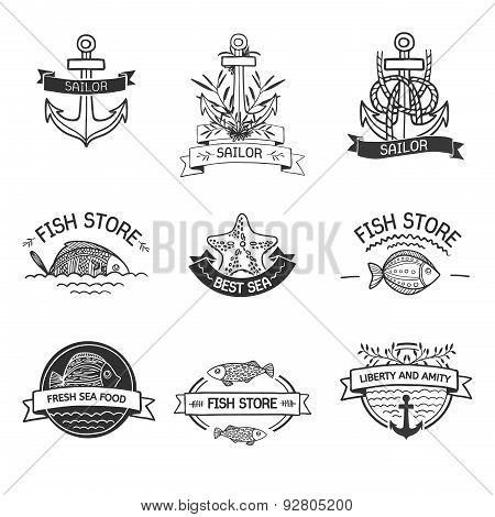 retro Vintage Insignias or Logotypes set with with fish, sea elements and ribbons. Vector design ele