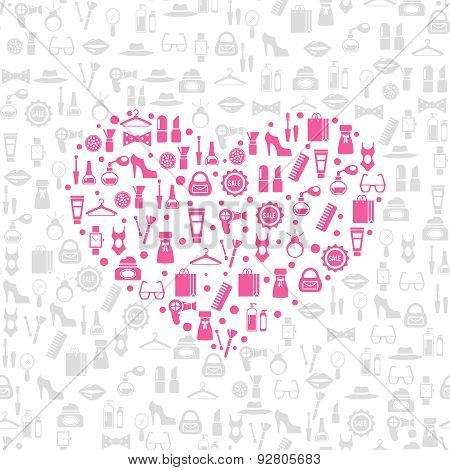 Love shopping seamless vector background