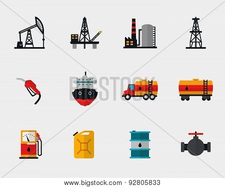 Petrol production, oil refining and petroleum transportation flat icons