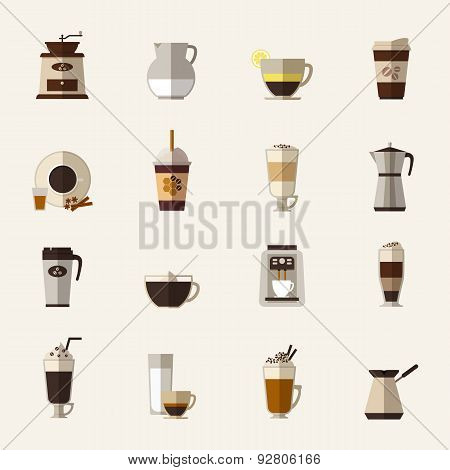 Coffee flat icons