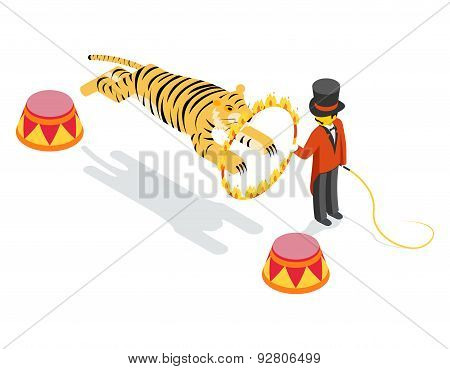 Tiger jumping through ring. Flat isometric 3d vector illustration