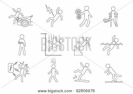 Vector people line icons in a variety of common accidents