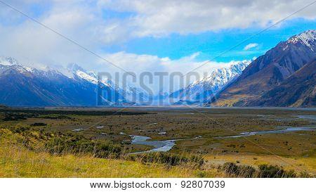 Tasman River Flows In Summer