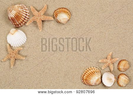 Beach Scene In Summer Cacation With Sand, Sea Shells, Stars And Copyspace