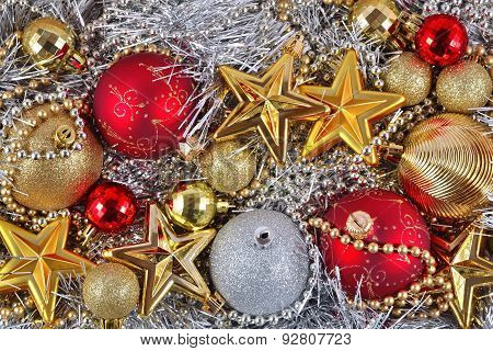 Golden, Silver And Red  Christmas Decorations